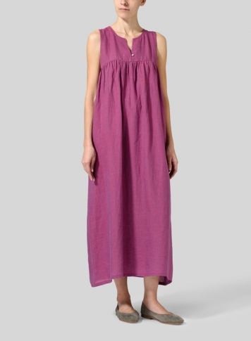 Two Tone Purple Linen Sleeveless Pleated Maxi Dress
