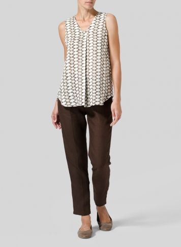 Khaki Beige Net Pattern Linen Pleated Cross Front Top