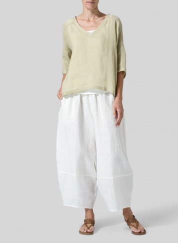 Pale Goldenrod Woven Linen Deep V-neck Top