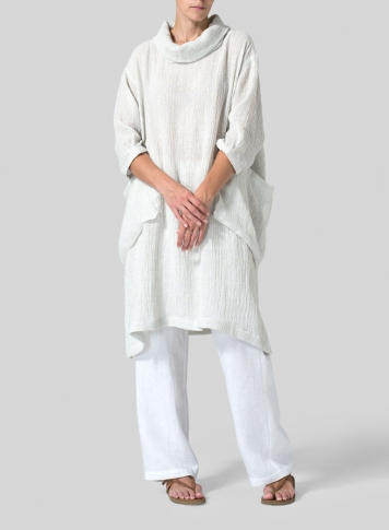 White Gauze Linen Cowl Neck Oversized Tunic