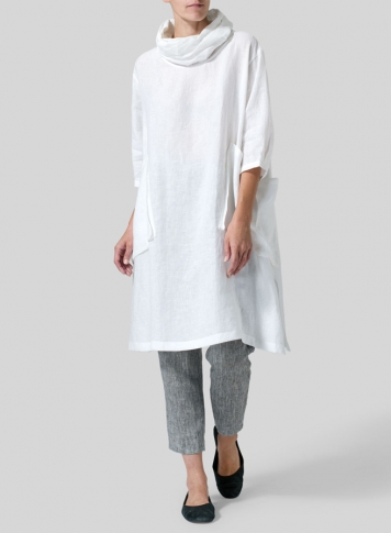 White Linen Cowl Neck Oversized Tunic