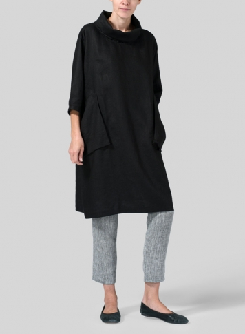 Black Linen Cowl Neck Oversized Tunic