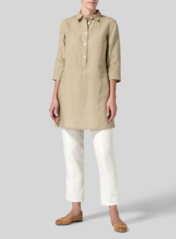 Khaki Sand Linen Straight Fit Shirt Collar Tunic