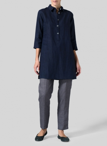 Navy Linen Straight Fit Shirt Collar Tunic