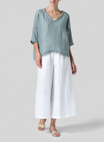 Green Gray Woven Linen Deep V-neck Top