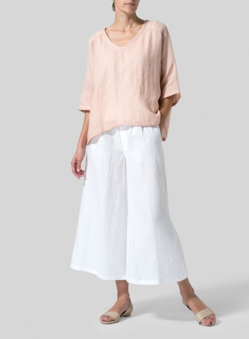 Maderia Pink Woven Linen Deep V-neck Top