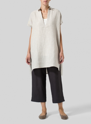 Oat Linen Short Sleeve Deep V-Neck Tunic