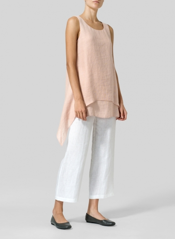 Madeira Pink Linen Sleeveless Layered Lightweight Top