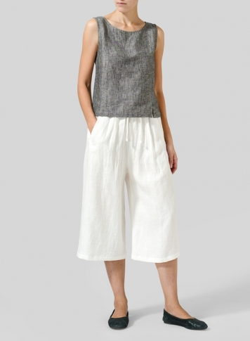Off White Linen Straight Elastic Cropped Pants Set