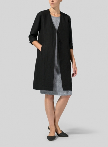 Black Linen Straight Fit Button-Front Long Jacket