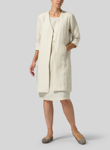Light Oat Linen Straight Fit Button-Front Long Jacket