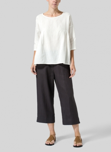 Off White Linen Dropped Shoulder Pleated Box Top