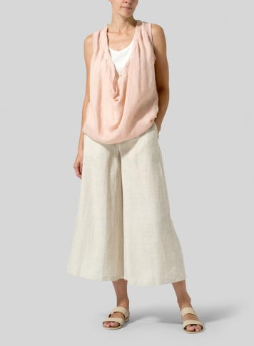 Madeira Pink Linen Deep Cowl Neck Top