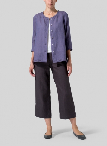 Dark State Purple Lightweight Linen Embroidered Hemline Top