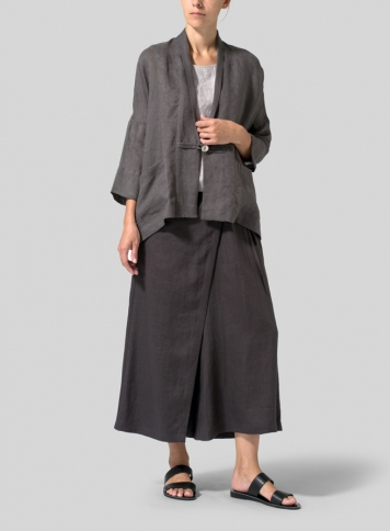 Charcoal Gray Lightweight Linen Kimono Jacket Set