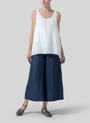 Soft White Linen Double Pocketed Tank