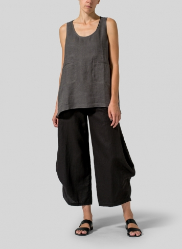Charcoal Gray Linen Double Pocketed Tank