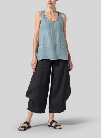Green Gray Linen Double Pocketed Tank