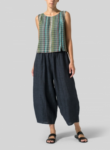 Multi Green Check Linen Sleeveless Short Tank