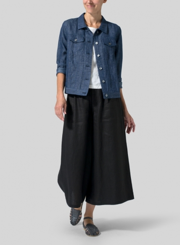 Denim Blue Linen Button Front Cropped Jacket Set