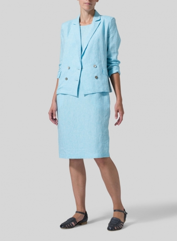 Azure Blue Linen Double-Breasted Cropped Blazer Set
