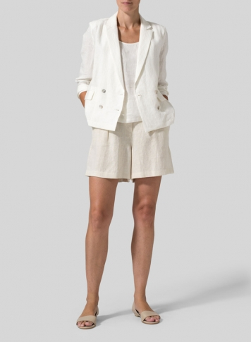 Off White Linen Double-Breasted Cropped Blazer Set