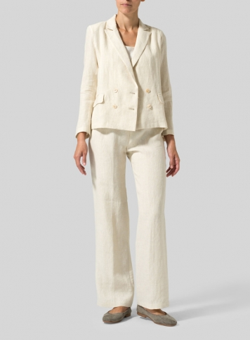Sand Linen Double-Breasted Cropped Blazer