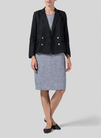 Black Linen Double-Breasted Cropped Blazer Set