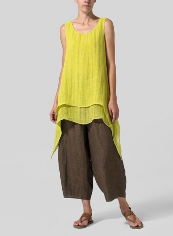 Yellow Gray Linen Sleeveless Layered Lightweight Top
