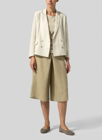 Oat Linen Double-Breasted Cropped Blazer Set