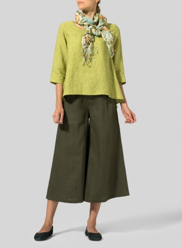 Lime Olive Green Linen A-line High-Low Top