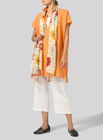 Orange Linen Short Sleeve Deep V-Neck Tunic Set