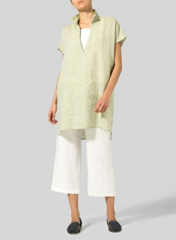 Two Tone Green White Linen Short Sleeve Deep V-Neck Tunic