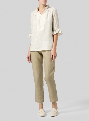 Light Beige Linen Ruffle Stand Collar Top