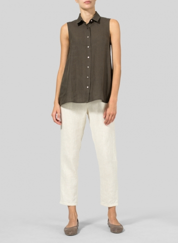 Dark Olive Brown Light Weight Linen Sleeveless A-shape Top