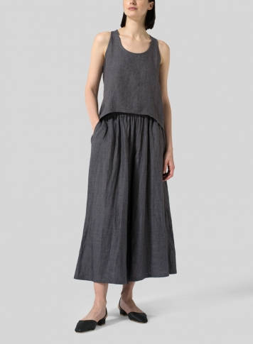 Charcoal Gray Linen Cropped Tank Top Set