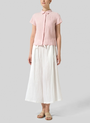 Baby Pink Linen Short Sleeve Mini-point Collar Shirt