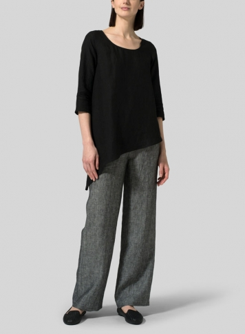 Black Linen Diagonal Top