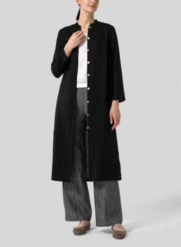 Black Linen Long Slim Shirt Dress