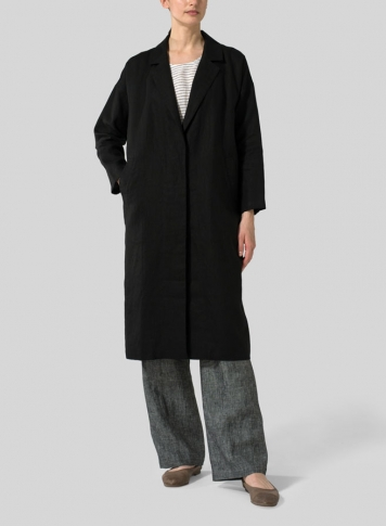 Black Linen Classic L/Sleeve Long Jacket
