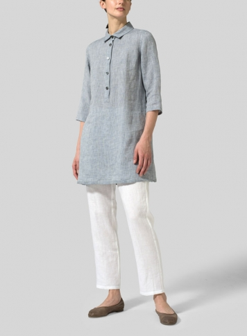 Two Tone Gray Linen Straight Fit Shirt Collar Tunic