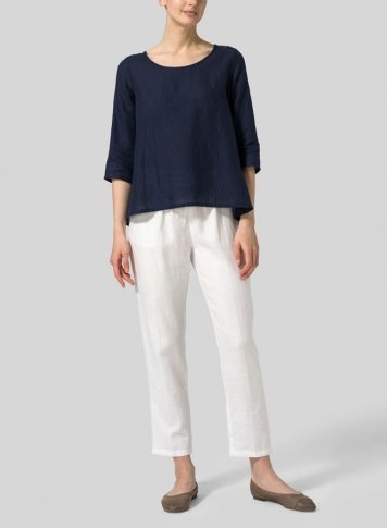 Midnight Blue Linen A-line High-Low Top