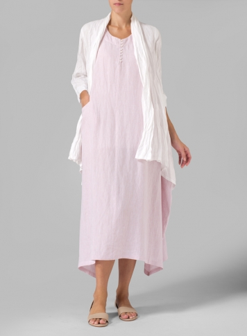 Linen Sleeveless Long Dress With Linen Open Front Jacket