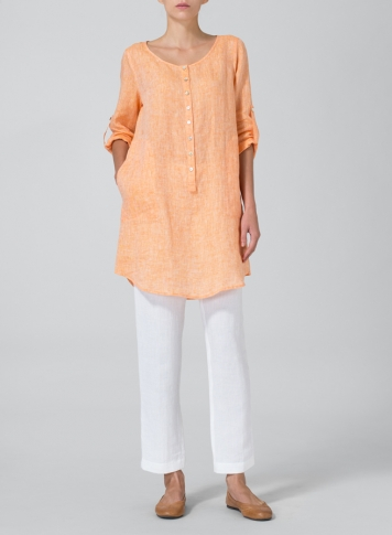 Orange Linen Half Button Long Top Set