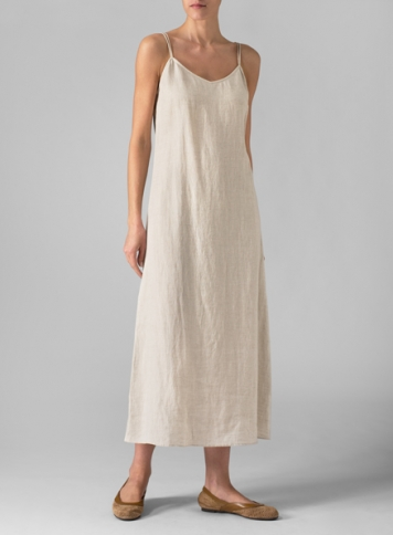 0ff21edb4bad0 ... Linen Spaghetti Strap Long Dress ...