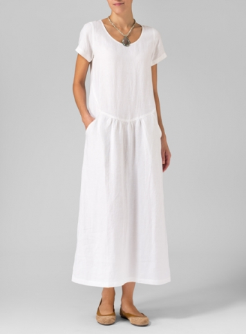 White Linen Short Sleeve Dress Set
