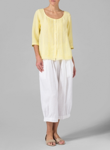 Yellow Daisy Linen Pintuck Pleated Top Set