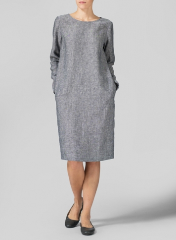 Linen Two Tone Black Collarless Mid-Length Dress