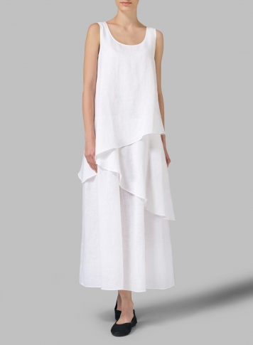 White Linen Sleeveless Layered Lightweight Dress