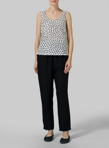 Black Star Pattern Linen Scoop Neck Tank